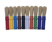 School Smart Beginner Stubby White Bristle Paint Brush Set, 1/2 X 18cm - 0.6cm , Assorted Colour, Set of 10