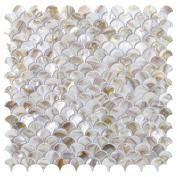 Art3d Mother of Pearl Mosaic Tile for Kitchen Backsplashes, Shower Walls, Pool Tile, 30cm x 30cm Fan Shape