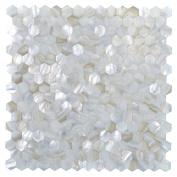 Art3d Kitchen Backsplash Tile Mother of Pearl Shell Mosaics, 30cm x 30cm White Seamless Hexagon