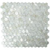 Art3d Kitchen Backsplash Tile Mother of Pearl Shell Mosaics, 30cm x 30cm White Hexagon