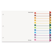 Cardinal OneStep Printable Table of Contents Dividers, 12-Tab, 11 x 17, Multicolor Tabs