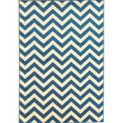 Chevron Rectangular Rug in Blue and Ivory (0.9m L x 0.6m W
