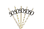 50th Party Straws - Glittery Black with Gold Straws