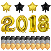 Konsait 100cm Number 2018 Gold Foil Balloons Large & 46cm Mylar Foil Star Balloon(4pcs)-Black Gold Silver Latex Balloon(30pcs) for New Years Eve Party Decorations 2018