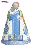 WOW Blue Balloons 1st Birthday Party Hats, Pack of 8