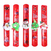 TOYMYTOY 5 Pcs LED Lights Santa Claus Christmas Slap Bracelet Xmas Circle Wristband For Kids Boys Girls
