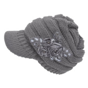 Women Ladies Cable Knitting Visor Hat With Flower Bling Patch Warm and Fashion