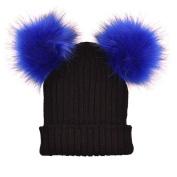 Women Winter Warm Hats Crochet Knit Hairball Faux Fux Pom Pom Beanie Cap Casual