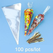 JZK 100 Clear cone sweet bags with ties cellophane party treat bags for sweets snacks confetti for wedding birthday Christmas Halloween baby shower party