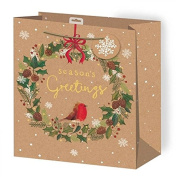 Anker Christmas Xmas Extra Large Gift Bag - Wreath and Robin