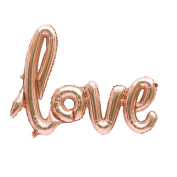 TRIXES Rose Gold Letter Foil Balloon Anniversary Wedding Valentine's Day Parties Italic Handwriting
