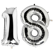 TRIXES Metallic Silver 100cm Number 18 Milestone Birthday Foil Balloons for Surprise Celebrations and Parties