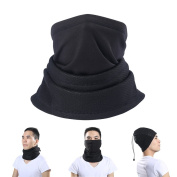 ZHOUBA Outdoor Winter Fleece Windproof Neck Warmer Half Face Mask for Cycling Skiing - Black One Size