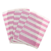 Nacpy Striped Kraft Paper Bag Craft Striped Favour Paper Gift Bag Wedding Party Favour Bags Jewellery Pouches Wrap Candy Gift Bag Pink