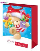 WOW Cute Christmas Gift Bag - Teddy Bear Design - Jumbo Size Bag