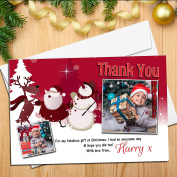 10 Personalised Christmas Gift Xmas THANKYOU Thank you PHOTO Cards Notes N58
