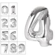 100cm Number 0~9 Thickening Gold Silver Foil Digital Air-filled /Hydrogen / Helium Foil Mylar Balloons for Independence Day Birthday Party Wedding Anniversary