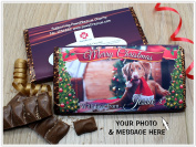 Personalised Merry Christmas CHARITY 114g Galaxy Milk Chocolate Bar ~ YOUR Pet Dog or Cat PHOTO Xmas Kids Mum Dad Stocking Fillers Gift Ideas Present N111