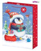WOW Cute Christmas Glitter Gift Bag with Tag - Cute Penguin Design - XLarge