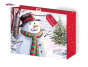 WOW Cute Christmas Glitter Gift Bag - Painted Snowman Design -Merry Christmas tag - Large