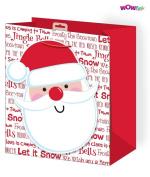 WOW Cute Christmas Glitter Gift Bag with Giant Santa Tag - Medium