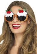 Smiffy's 48294 Christmas Pudding Glasses, Brown, One Size