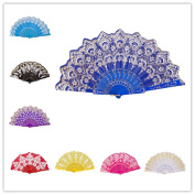 CosCosX 1 PCS Chinese/Spanish Folding Hand Fan, Dance Wedding Party Lace Silk Folding Hand Held Flower Fan, Wedding Favours Guests Gifts£¨Blue£©