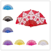 CosCosX 1 PCS Chinese/Spanish Folding Hand Fan, Dance Wedding Party Lace Silk Folding Hand Held Flower Fan, Wedding Favours Guests Gifts£¨Red£©