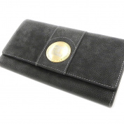 Wallet + chequebook holder leather 'Ted Lapidus' grey.