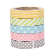 5xToruiwa Washi Tape Rainbow Colour Decorative Polka Dot Tape Stickers Adhesive Tape Masking Tape Sticky Paper for DIY Craft Scrapbooking Decoration