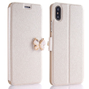 Slim Hard Cover for iPhone X Case, PU Leather Flip Style Cover for iPhone X, ZCRO Super Thin Hard Plastic Inner Shell Case with One Card Slot Holder Wallet Book Style Design 3D Cute Bling Glitter Butterfly Magnetic Buckle Stand Function Protective Cove ..