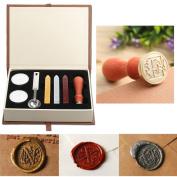 Seal Wax Kit,PUQU Vintage Initial Letters Alphabet Wax Badge Seal Stamp Kit Wax Set Gift Box