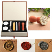 Seal Wax Kit,PUQU Vintage Initial Letters Alphabet Wax Badge Seal Stamp Kit Wax Set Gift Box