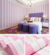 Pink and White Stripe Decorative Vinyl Contact Paper Self Ahesive Shelf Liner Peel and Stick Wallpaper for Kids Gilrs Nursery Bedroom Wall Deal 60cm by 4.9m