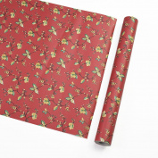 Red Vintage Floral Pattern Contact Paper Shelf Liner Self Adhesive for Cabinets Shelves Drawer Arts and Crafts Decal 45cm x 200cm