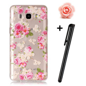 Samsung Galaxy J5 2016 Case,TOYYM Ultra Slim Flexible Soft TPU [Scratch Resistant] Silicone Case for Samsung Galaxy J5 2016,Transparent Clear Bumper Gel Back Protective Case Cover with [Pink Rose] Pattern Design Fit for Samsung Galaxy J5 2016/J510+1x S ..