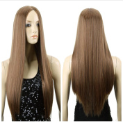 Cexin Women's Fashion Middle Part Wigs Long Straight Cosplay Costume Party Wig Light Brown