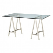 Rectangular Glass Top Table w Architects Double Pedestal Base