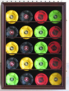 20 Hockey Puck Display Case Shadow Box Wall Cabinet (Pucks not inlcuded), UV Protection Door, Cherry Finish