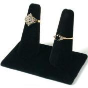 Display Double Ring Black Velvet Showcase Countertop