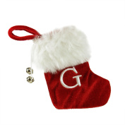 "18cm Red & White ""G"" Embroidered Mini Christmas Tree Stocking"