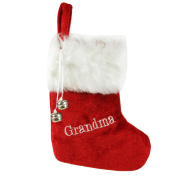 "18cm Red & White ""Grandma"" Embroidered Mini Christmas Tree Stocking"