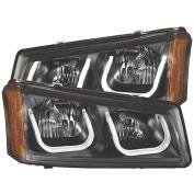 Anzo Usa 111312 Anz111312 03-06 Silverado 15/25/3500/Avalance W/O Cladding Projector Headlights W/ U-Bar Black Clear
