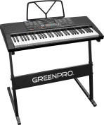 GreenPro 61 Key Portable Electronic Piano Keyboard LED Display with Adjustable Stand and Music Notes Holder
