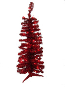 0.9m Pre-Lit Red Artificial Pencil Tinsel Christmas Tree - Red Lights