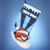 50cm Angry Birds Red Bird in Santa Hat Striped Blue Christmas Stocking