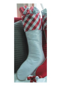 48cm Country Cabin White Christmas Stocking with Red and Grey Tartan Plaid Cuff