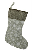 38cm Grey Snowflake Saturation and Faux Fur Christmas Stocking