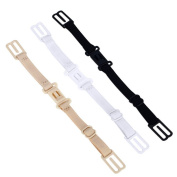 3 PCS Women Ladies Girls Adjustable Elastic No-slip Bra Strap Holder with Bolt Style Buckle Black White and Skin Colour