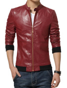 Unique Bargains Men's Stand Collar Long-sleeved Zip Up Front Slim Fit PU Jackets Red